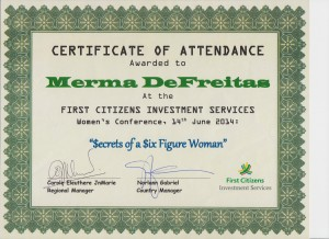 Cert of Attendance for M. DeFreitas at First Citizens 001